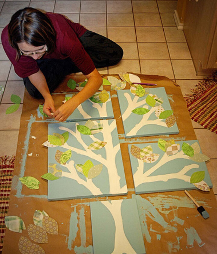 Assembling the leaves gives you the chance to add color and texture to the wall art!