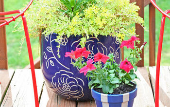 Painting a Patriotic Planter and Using Natural Elements