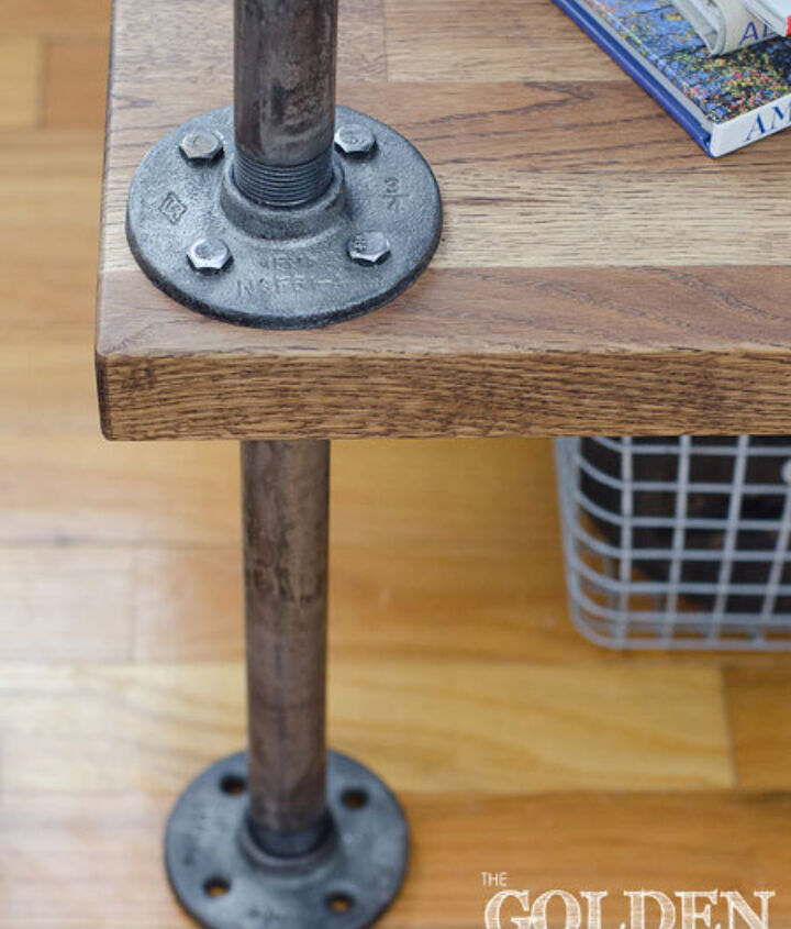 Weathered metal and wood side table
