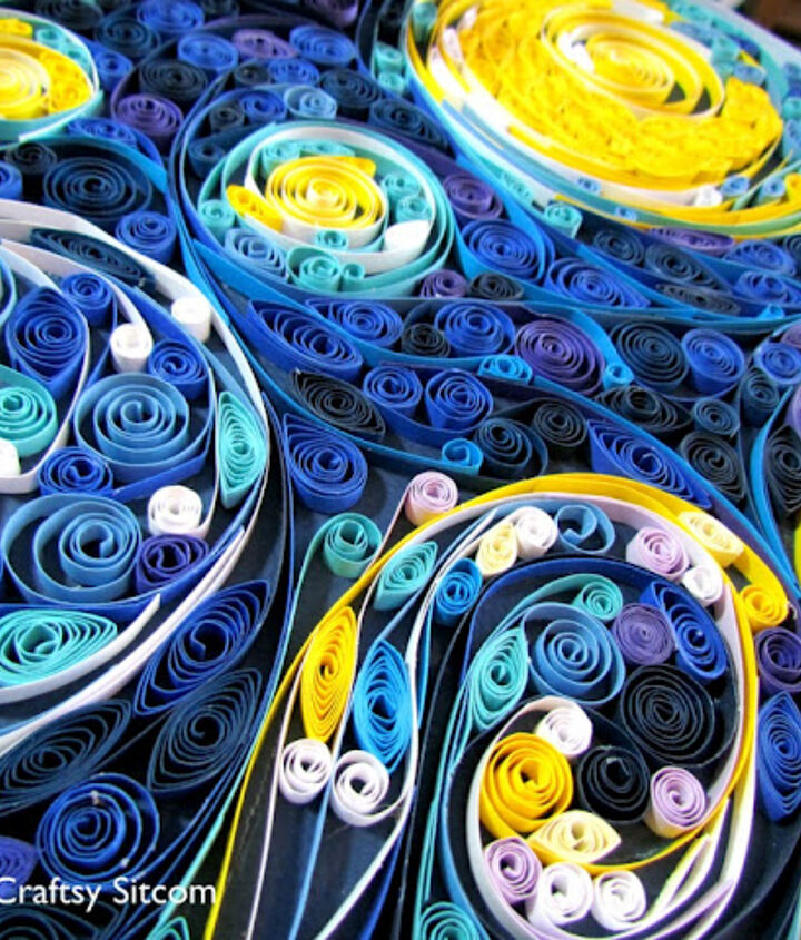 Quilled Starry Night/Suzys Artsy Craftsy Sitcom #quilling #paper crafts #wall art