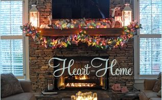 christmas in the living room, christmas decorations, living room ideas, seasonal holiday decor, We have that built in decorating problem in the living room a huge TV over the mantle come over and see how I decorated around it