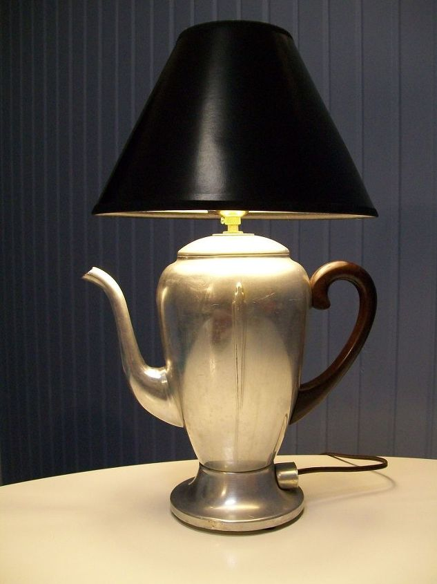 vintage coffee pot lamp, crafts, lighting, repurposing upcycling