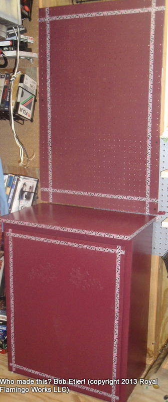 the end of a fuchsia era cabinet upcycle, kitchen cabinets, painted furniture, repurposing upcycling, The finished project The pegboard is attached to the wall behind the cabinet not to the cabinet itself