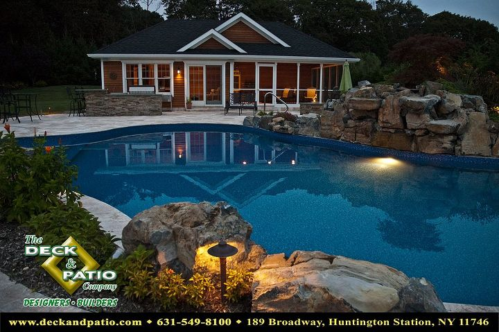 Pool house with screened porch on right side, and great room with full bath on left side. Outdoor shower in rear house, outdoor kitchen in front left of house.