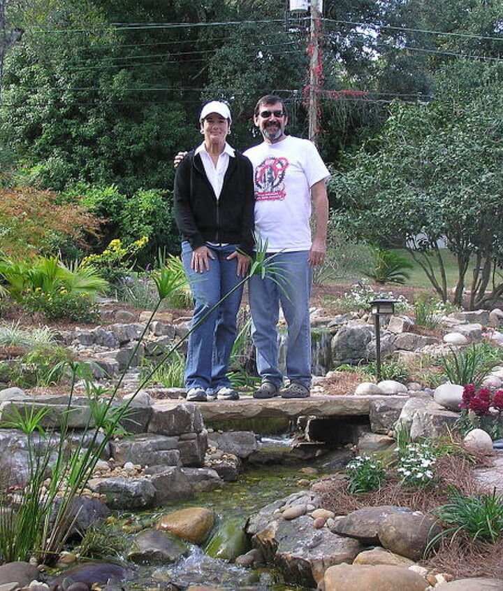 """This is the Landscape Architect and Homeowner who we worked with to create this awesome water feature. We all worked as a team and the process was smooth sailing. The planning process began with an expectations/logistics """"pre-meeting""""."""