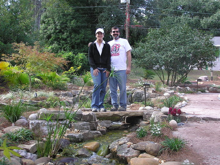 "This is the Landscape Architect and Homeowner who we worked with to create this awesome water feature. We all worked as a team and the process was smooth sailing. The planning process began with an expectations/logistics ""pre-meeting""."