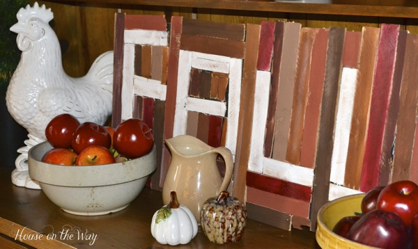 This Fall Sign is made from wood shims and painted in Fall colors.