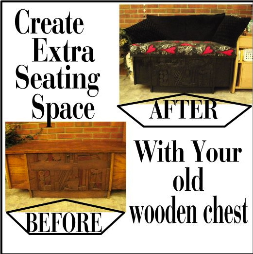 I created a cozy little seating area by repurposing my old Lane chest