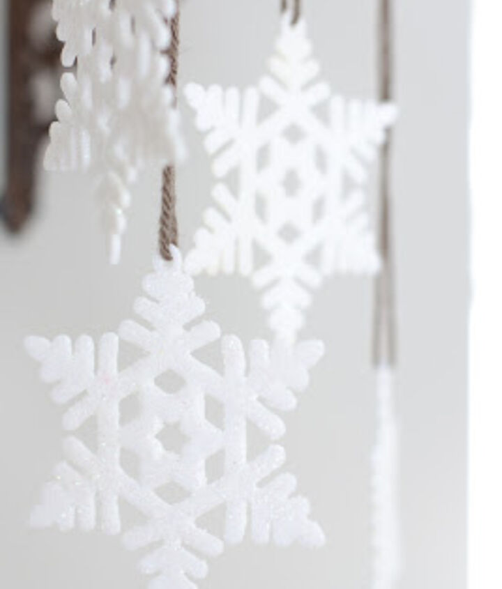I loved these snowflakes from my daughter's Christmas tree, so I reused them in this vignette. They give the shelf that extra snowy feel!