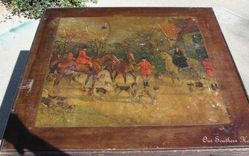 vintage hunt scene card table, painted furniture