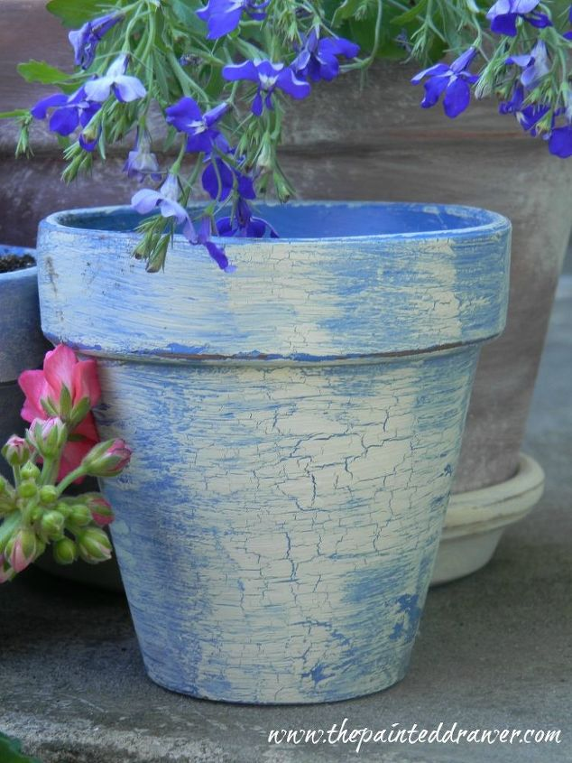 creating the look of vintage french flower pots how to, chalk paint, flowers, gardening, painting, repurposing upcycling