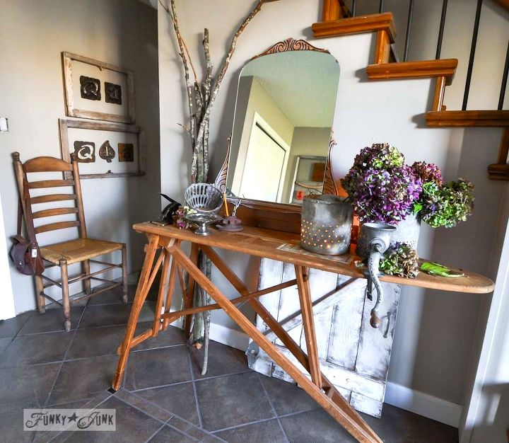 when gathered random junk becomes an entry table, foyer, home decor, painted furniture, repurposing upcycling, This vintage ironing board and mirror were bo