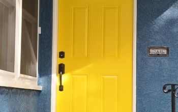 fun and cheery front entry curb appeal, curb appeal, doors, painting, Our beautiful front door in yellow So warm and welcoming