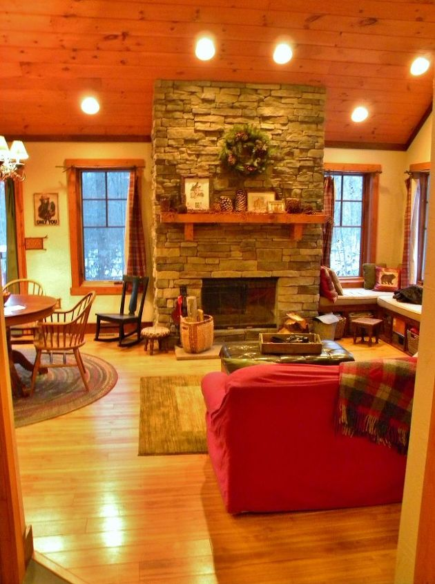 A look into the living/dining area. That fireplace is really the focal point!