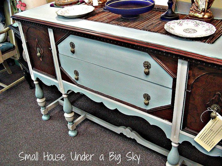 CeCe Caldwell's Chalk Paint transformed this old Jacobean sideboard.