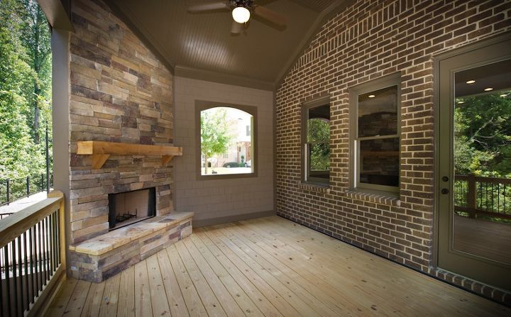 what s your favorite way of enjoying your outdoor living space, decks, fireplaces mantels, home decor, outdoor living, Outdoor Living Space with Built In Fireplace in one our new homes in Alpharetta