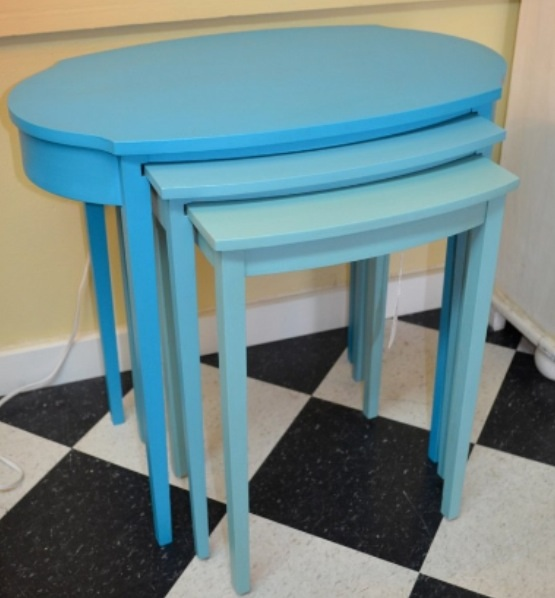 restyled mersman nesting tables, painted furniture