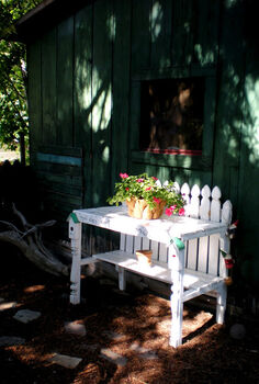 6 ways to landscape without breaking the budget, flowers, gardening, landscape, perennial, Recycled fence and spindles for potting bench