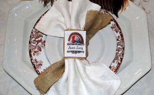no sew burlap napkin rings place cards, crafts, thanksgiving decorations, No Sew Burlap Napkin Rings Place Cards