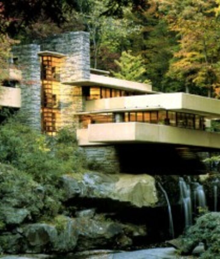 Our inspiration for our micro pond, Frank Lloyd Wright's Falling Water www.deckandpatio.com