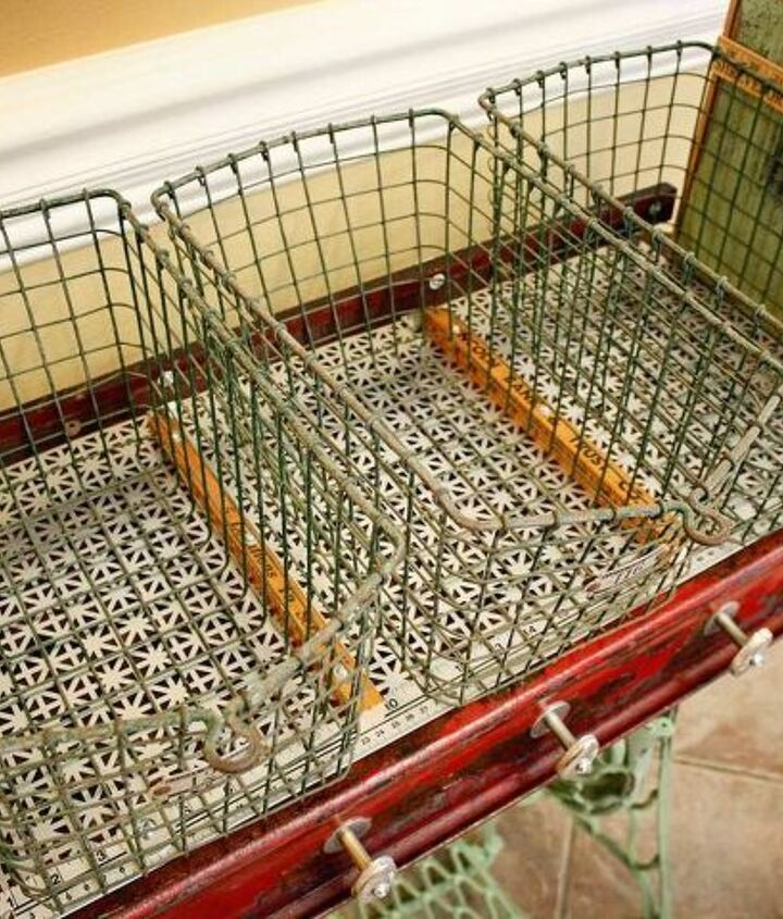 Vintage gym locker baskets are so fun to use in any project.  Repurposed Red Wagon Sewing Machine Base Storage Table by GadgetSponge