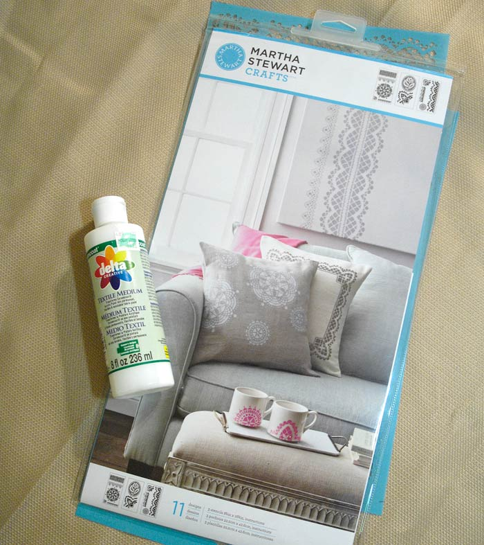I used textile medium and stencils from the Martha Stewart Crafts collection.