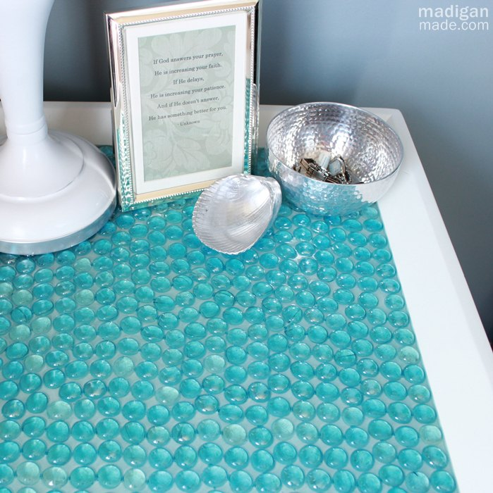 glass gem tiled table, home decor, repurposing upcycling, Glass gem covered table get the details here