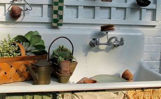 our summer potting sink, flowers, gardening, outdoor living, succulents, aprons skirt the sink