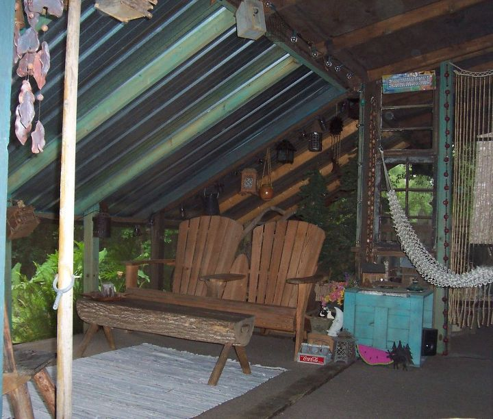 Back Screened Porch - Our 'North Carolina Room' complete with tin roof! (overlooks purple porch & firepit)