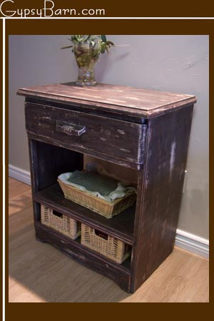 A smaller example. it was a 4 drawer smaller dresser, we gutted it, moved the supports around and added the baskets.