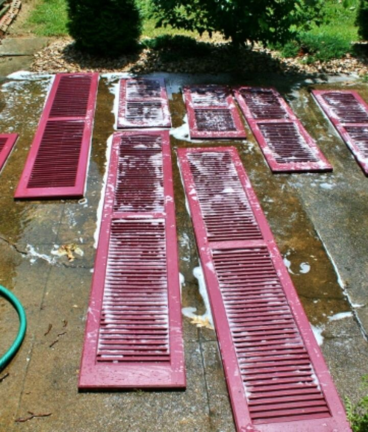First step, hose off the shutters and scrub then with a bristle brush and soapy water.