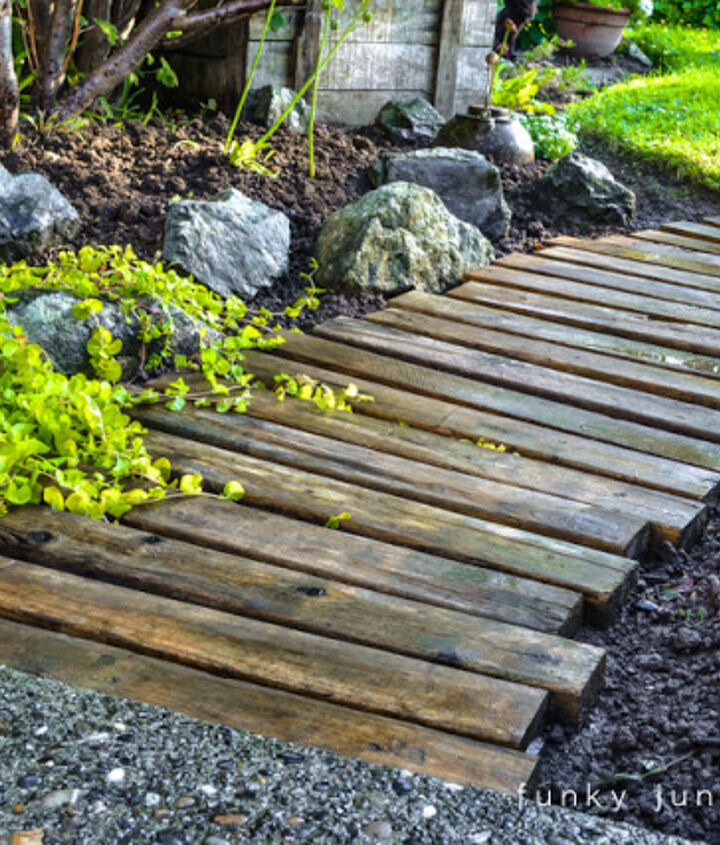 My little pallet walkway was quick, easy and free! http://www.funkyjunkinteriors.net/2012/07/pallet-wood-walkway-all-prettied-up.html