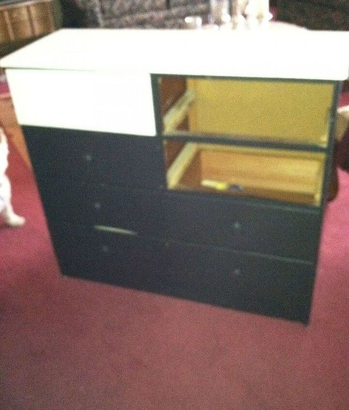 Top and two drawers painted