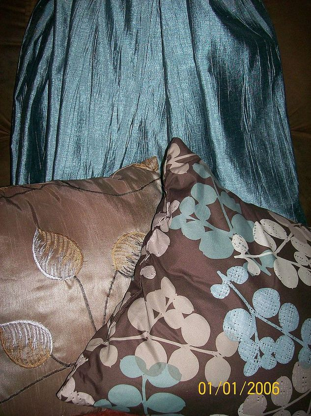 drapes and throw pillows