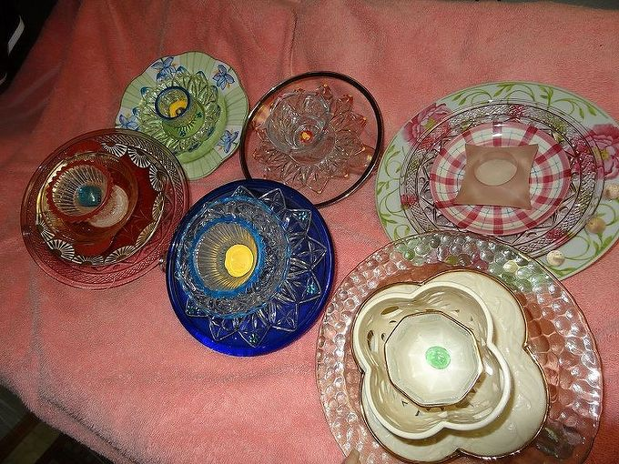 glass garden flowers, home decor, repurposing upcycling, glass flowers all set to go to the garden