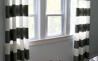 how to paint stripes on curtains, crafts, decoupage, home decor, painting, It s hard to believe these curtains were plain white when I bought them With some measuring taping and painting I created these great panels