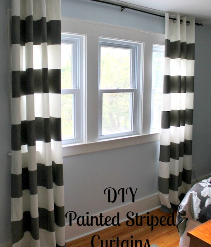 It's hard to believe these curtains were plain white when I bought them.  With some measuring, taping, and painting, I created these great panels.