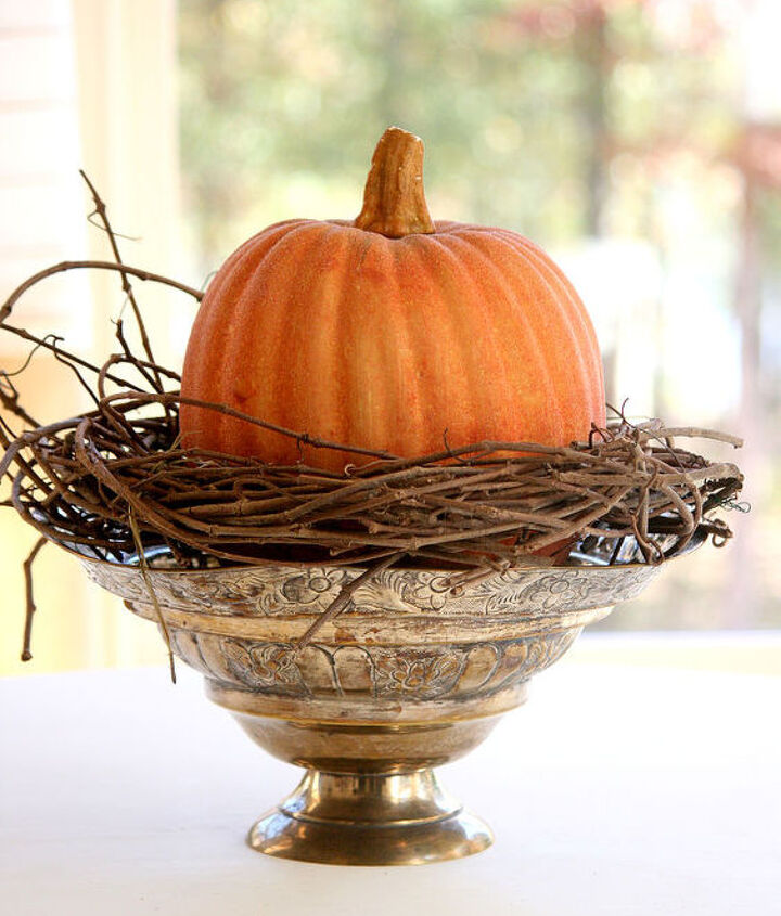 start with a bowl, pumpkin and grapevine wreath