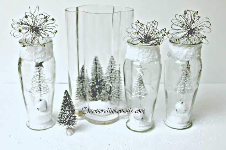 decorating in vases to create a christmas glass vignette and snow, crafts,  seasonal holiday