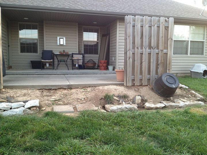 The rest of the patio.  It will have a retaining wall in 2-3 weeks.
