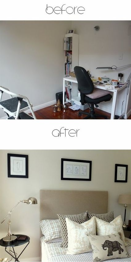 Before and After Room Makeover from: http://leecarolineart.blogspot.co.nz/2013/09/guest-bedroom-makeover-reveal.html