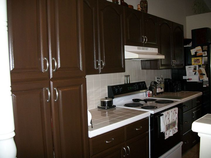 kitchen transformation from white to chocolate cabinets, kitchen cabinets, kitchen design, painting, Chocolate cabinets finished