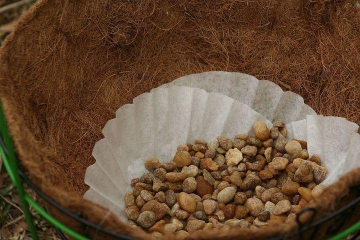 coco liner, coffee filter, pea pebbles