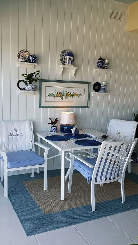 blue and white sun porch from yard sales and thrift stores, home decor, porches