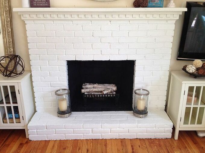 the painted fireplace, concrete masonry, fireplaces mantels, home decor, living room ideas, painted furniture
