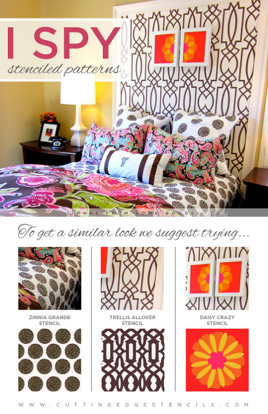 ispy stenciled patterns, painting
