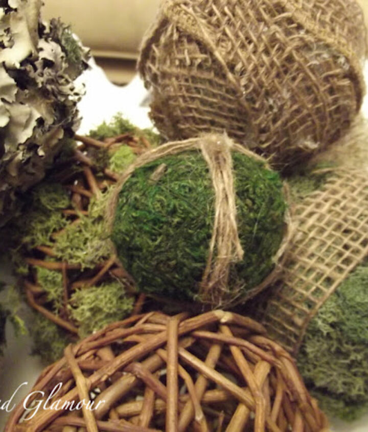 A mixed variety of moss, burlap, jute and more.