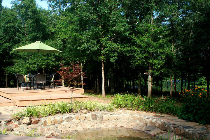 View from the sitting area , pond and eating area