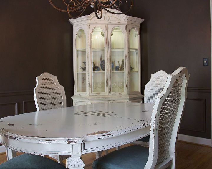 Farmhouse Dining Table Chairs Hutch With A Special Touch Painted Furniture After Of