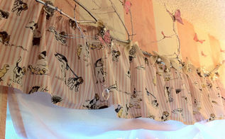 diy tree branch curtain rod, home decor, Installed over the window and dressed uo with butterflies crystals and curtains